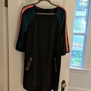 Black Teal and Orange Dress